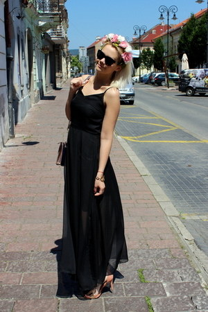 black OASAP dress - peach F&F bag - black Gate sunglasses - peach F&F sandals