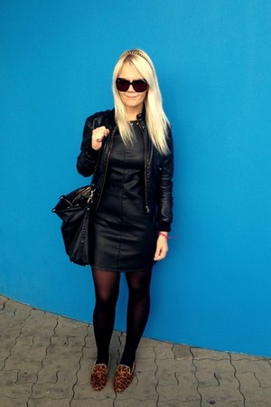 black c&a dress - black H&M jacket - black Mango bag - black Gucci sunglasses