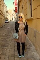 light blue OASAP bag - tan H&M dress - black H&M jacket
