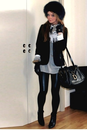 hat - GINA TRICOT blazer - H&M sweater - Cubus leggings - calvin klein shoes - G