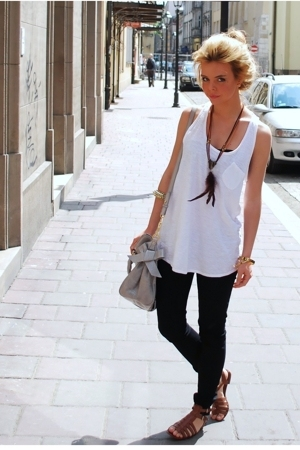 gray Miu Miu purse - brown shoes - black jeans - black bra - white top