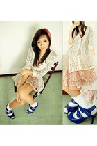 off white lace karimadon cardigan - peach dress - navy Mario de Boro heels