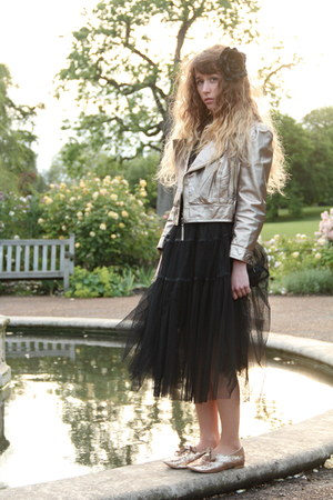 gold Only One jacket - black Molly Bracken dress - black H&amp;M accessories
