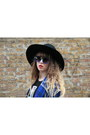 Blue-only-jacket-black-monki-hat-blue-urban-outfitters-sunglasses