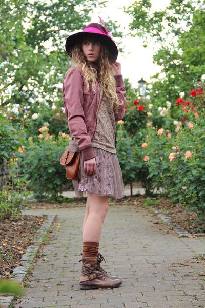 Primark boots - Molly Bracken dress - asos hat - Only jacket - Only bag