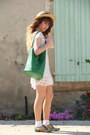 White-molly-bracken-dress-beige-vintage-hat-teal-vintage-bag
