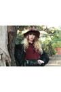Black-vero-moda-cardigan-maroon-richelieu-boots-ruby-red-zara-hat