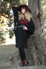 Maroon-richelieu-boots-ruby-red-zara-hat-black-vero-moda-cardigan