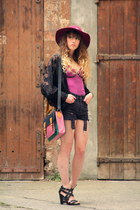black Vero Moda jacket - maroon Zara hat - black Topshop shorts