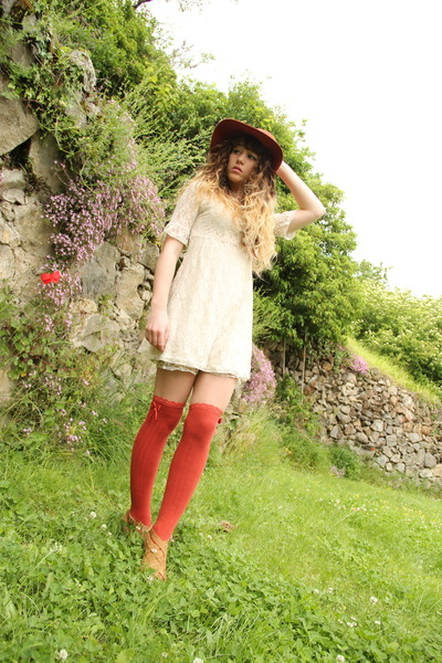carrot orange Primark socks - ivory Molly Bracken dress