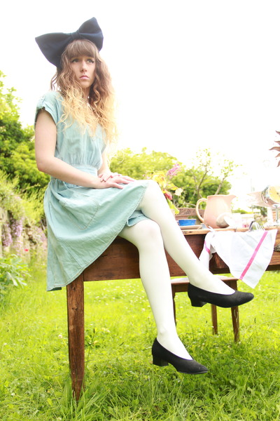 periwinkle denim Only dress - white Primark tights - navy denim DIY accessories