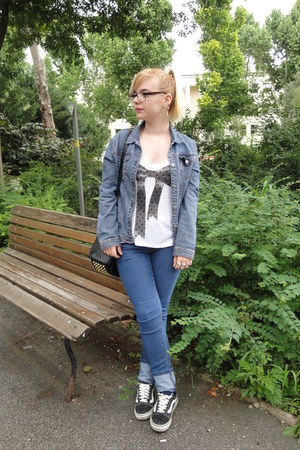 denim Ovs Industry jeans - denim jacket Amadeus jacket - studded bag Ebay bag
