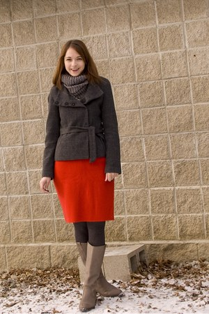tan Target boots - charcoal gray tweed H&M jacket - red wool thrifted skirt