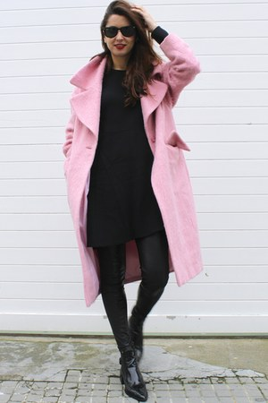 black Zara dress - bubble gum asos coat - black Mango pants