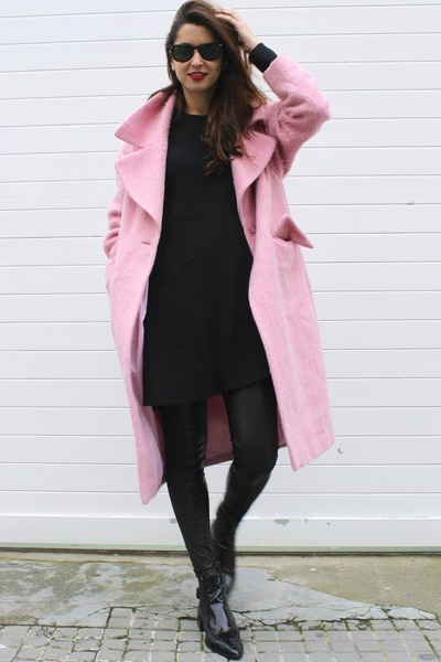 black Zara dress - bubble gum asos coat - black Mango pants