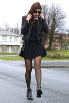 black Zara boots - black Zara dress - black Zara jacket