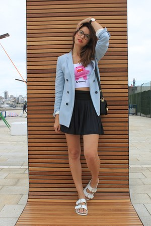 light blue Zara jacket - white H&M top - white Zara sandals