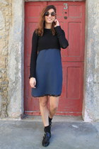 blue Zara dress - black Uterque flats