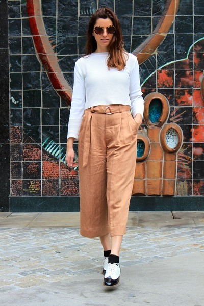 burnt orange Zara pants - black asos shoes - white Zara top