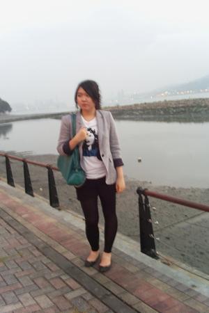 white Zara t-shirt - silver Zara blazer - black Mango shorts