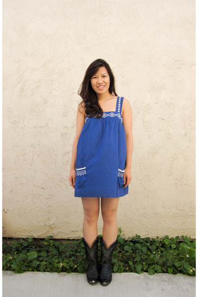 blue Forever 21 dress - black thrifted boots - silver Tiffany and Co necklace