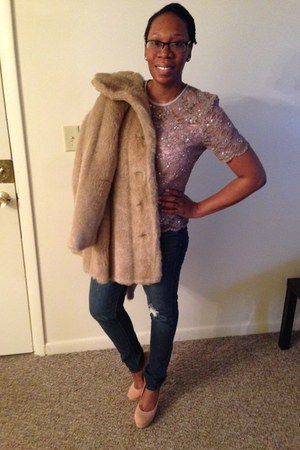 light purple vintage sequins Tom Barra top - beige vintage fur Royal Minke coat