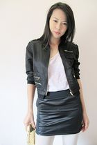 black jacket - beige accessories - white - black STYLESOFIACOM skirt - beige Top