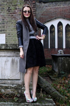 black Zara coat - black Zara dress - heather gray new look jumper