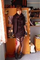 black Primark dress - black new look boots - black Topshop tights - black DIY to
