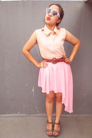 light pink asymmetrical DIY skirt - neutral collar unknown top