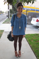 Buffalo Exchange top - Forever 21 leggings - Miss Sixty shoes - Forever 21 purse