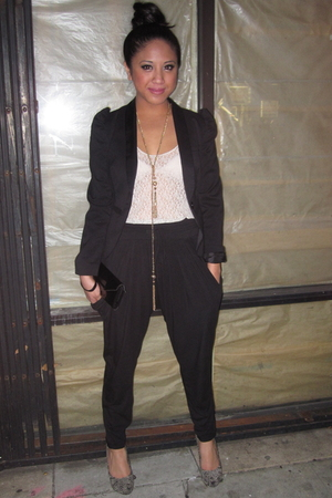 black H&M jacket - black foreign exchange pants - beige Forever 21 top - black M