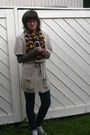 Brown-shirt-blue-leggings-white-h-m-cardigan-gray-h-m-shoes-yellow-scarf