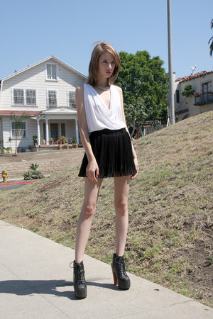 Jeffrey Campbell heels - black Timeless shorts - white Riller & Fount top