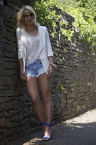 blue Celine shoes - blue Zara shorts