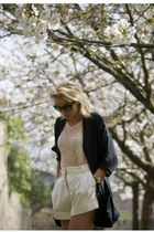 ivory Lover shorts - black silk H&M Trend jacket - nude sheer Zara vest
