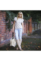 blue Zara jeans - ivory Reiss t-shirt - eggshell leg warmers Stefanel stockings