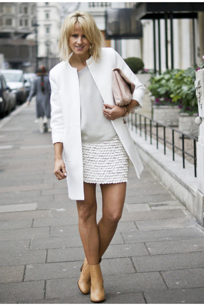off white faux leather Zara skirt - nude leather Zara boots - white Zara coat