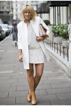 off white faux leather Zara skirt - nude leather Zara boots - white Zara coat