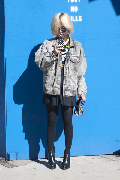 denim vintage jacket - black gorillaz dress - black H&M tights