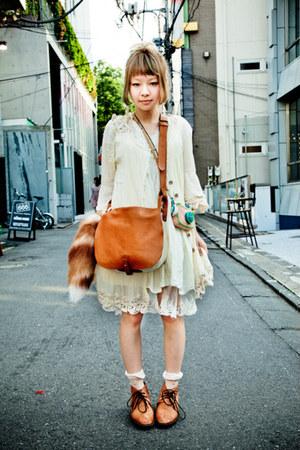 cream dress - dress - bag - loafers