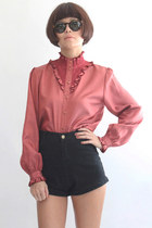 Vintage Smocking Ruffle High Neck Ruffle L/S Silky Blouse