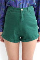 High Rise Turn-Up Hem Elastic Denim Shorts