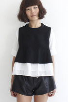 2-In-1 Peplum Knit Top With Underlayered Shirt
