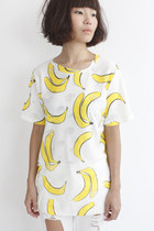 Round Neck Banana Pattern Boxy S/S Top