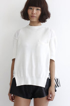 Round Neck Mixed Fabric S/S Knit Top