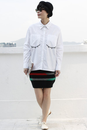 black DRIVE STORE skirt - white DRIVE STORE shirt