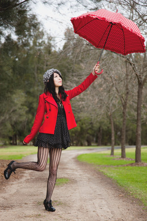 red bardot jacket - black polka dot zipia dress - silver beret Forever New hat
