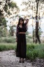 Black-glassons-top-black-sheer-maxi-sheinside-skirt-black-taobao-necklace