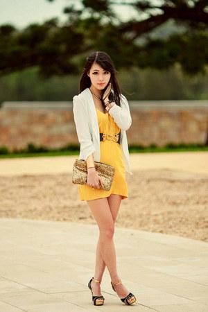 mustard local boutique store dress - cream local boutique store blazer